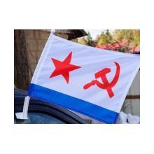 """Флаг из флажной сетки """"ВМФ СССР"""" на автомобильном флагштоке"""